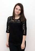 Женская блуза батал черного  цвета