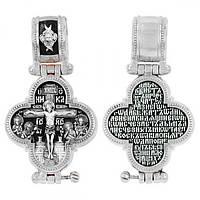 Крест-мощевик серебряный Распятие Христово с предстоящими. Блж. Матрона Московская