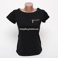 Женская футболка с замочком со стразами цвет черный p.42-46 B9-2