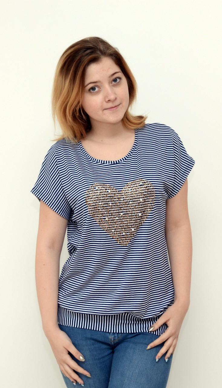 Женская стильная блуза  в полосочку (сердце) батал