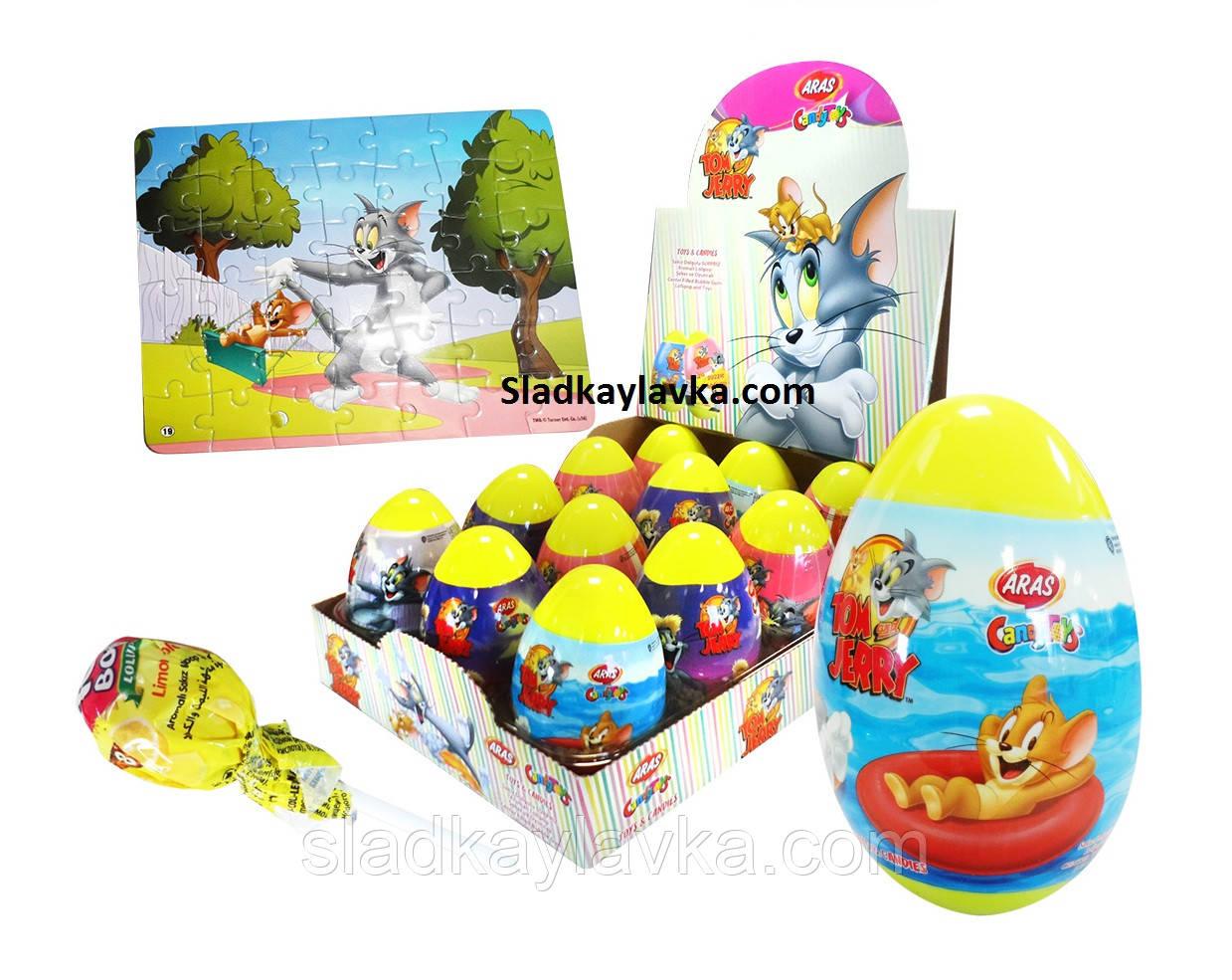 """Яйцо """"Том и Джерри"""" пазлы с драже 12 шт (Aras)"""