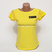 Женская футболка с замочком со стразами цвет желтый p.42-46 B9-3