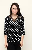 Нарядная женская блуза в горохи, большие размеры
