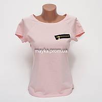 Женская футболка с замочком со стразами цвет розовый p.46 B9-4