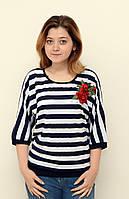 Женская полосатая блуза, полубатальные размеры