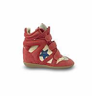 Женские сникеры на танкетке ISABEL MARANT замшевые красные со звездой Bayley Wedge Sneakers In Red