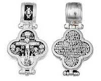 Крест - мощевик серебряный Распятие Христово с предстоящими. Барская икона Божией Матери