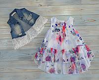 Платье на маленькую принцессу 80 см (1 год) с жилеткой, 12 месяцев, туника, Messuto, Турция