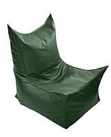 Зеленое бескаркасное кресло трон из кож зама Зевс