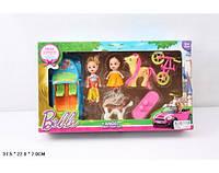 Кукла маленькая 012-1A с куколкой, машинкой, велосипедом, пони, собачкой