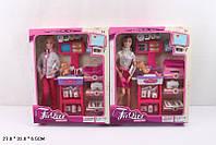 "Кукла типа ""Барби""Доктор"" JX100-23 2 вида, с мебелью,ребенком, аксесс, в кор.27*7*33см"