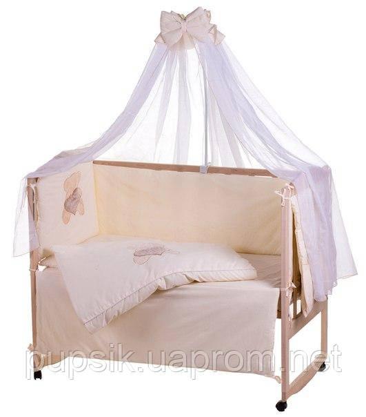 Постельный комплект в кроватку Qvatro 100% хлопок аппликация (8 предметов)