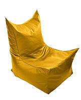 Желтое бескаркасное кресло трон из кож зама Зевс