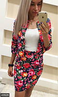 Модный женский костюм с жакетом и юбкой мини с цветочным принтом рукав три четверти коттон