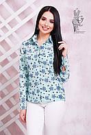 Женская приталенная блузка с длинным рукавом Бабби-1 с принтом  бантики