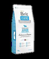 Brit Care Grain-free Junior Large Breed Salmon & Potato беззерновой корм для щенков крупных пород, 12 кг