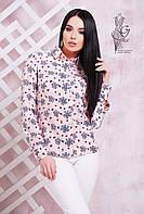 Женская приталенная блузка с длинным рукавом Бабби-2 с принтом  бантики