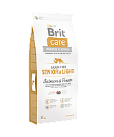 Brit Care Grain-free Senior & Light Salmon & Potato беззерновой корм для пожилых собак, 12 кг
