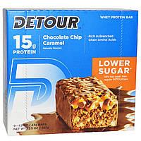 Detour, Батончики из сывороточного белка с кусочками шоколада и карамелью, 9 батончиков по 1,5 унции (43 г) каждый