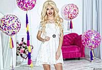 Гипюровое белое платье с открытыми плечами