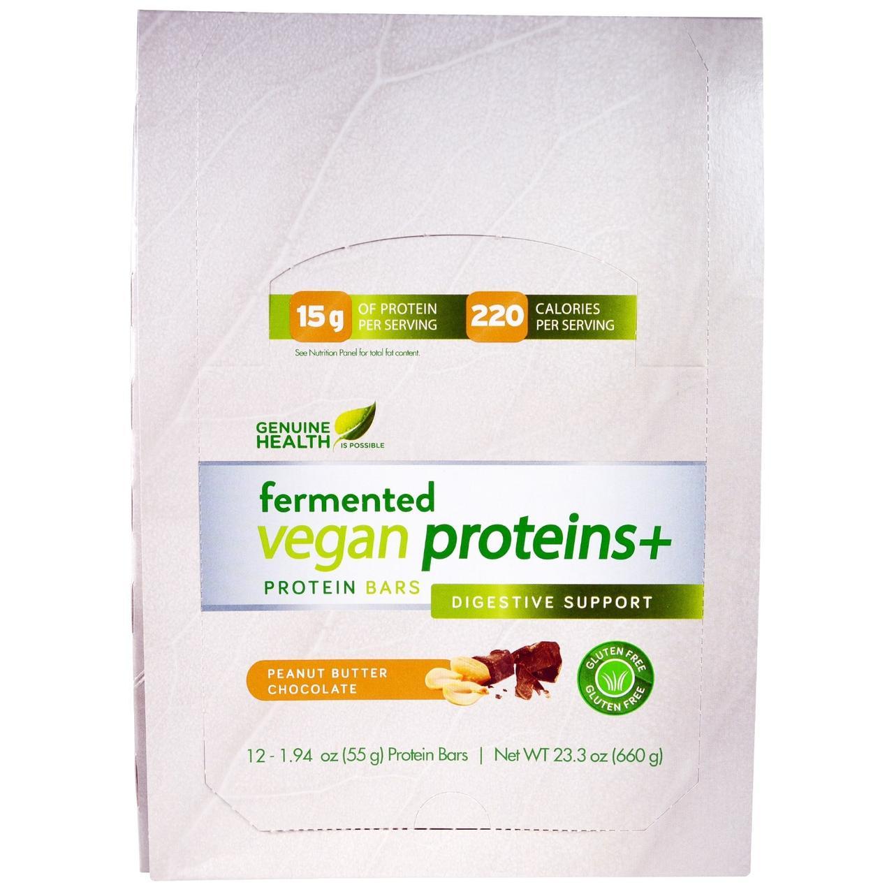Genuine Health Corporation, Ферментированные веганские протеины +, арахисовое масло, шоколад , 12 протеиновых батончика, по 1.94 унции(55 г) каждый