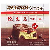 Detour, Simple, Батончики с Сывороточным Белком, Печенье с Соленой Карамелью, 9 батончиков по 1,1 унции (30 г) каждый