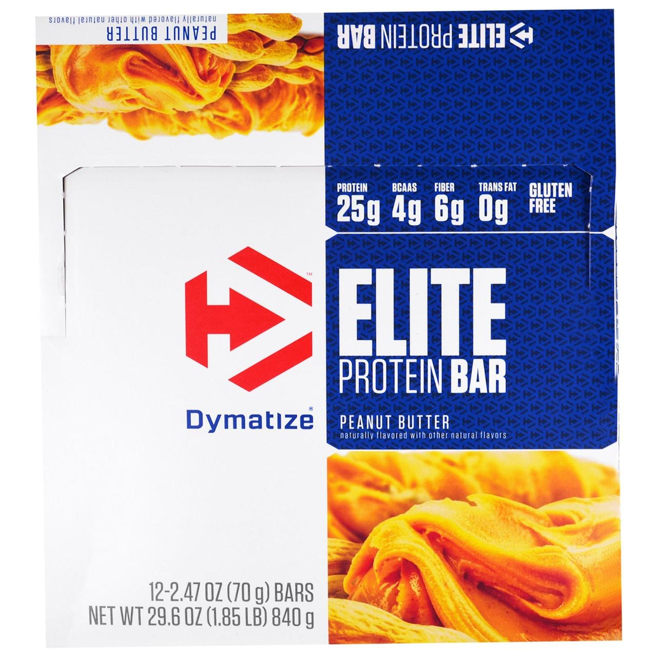 Dymatize Nutrition, Elite, Белковый Батончик, Арахисовое Масло, 12 штук, по 2,47 унции (70 г) каждая