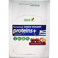 Genuine Health Corporation, Ферментированные веганские протеины +, вишня, миндаль, ваниль, 12 протеиновых батончика, по 1.94 унции(55 г) каждый