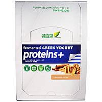Genuine Health Corporation, Ферментированные веганские протеины +, корица, орех-пекан, 12 протеиновых батончика, 1.94 унции(55 г) каждый