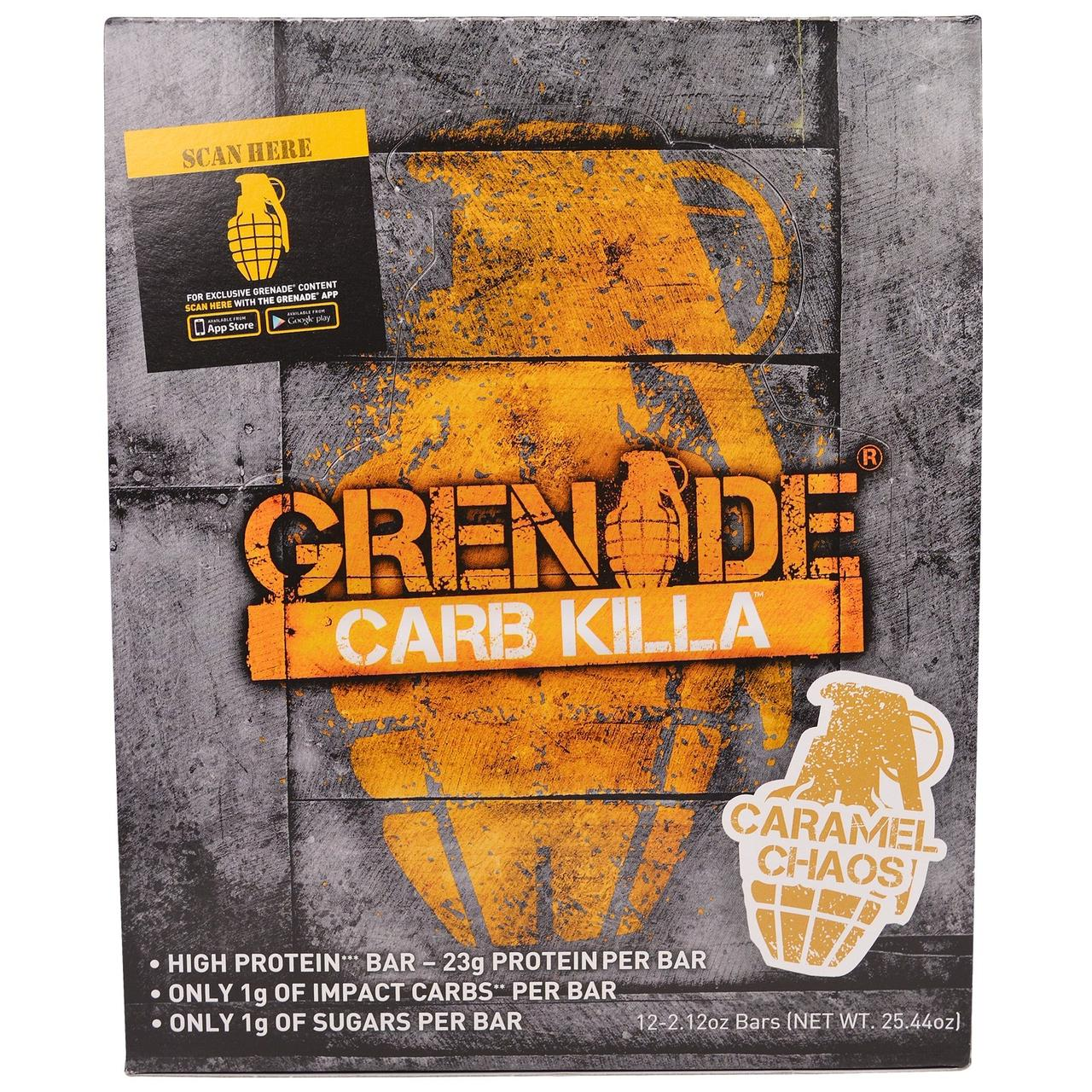 Grenade, Carb Killa Bar, Caramel Chaos, 12-2.12 oz bars , Net Wt 25.44 oz