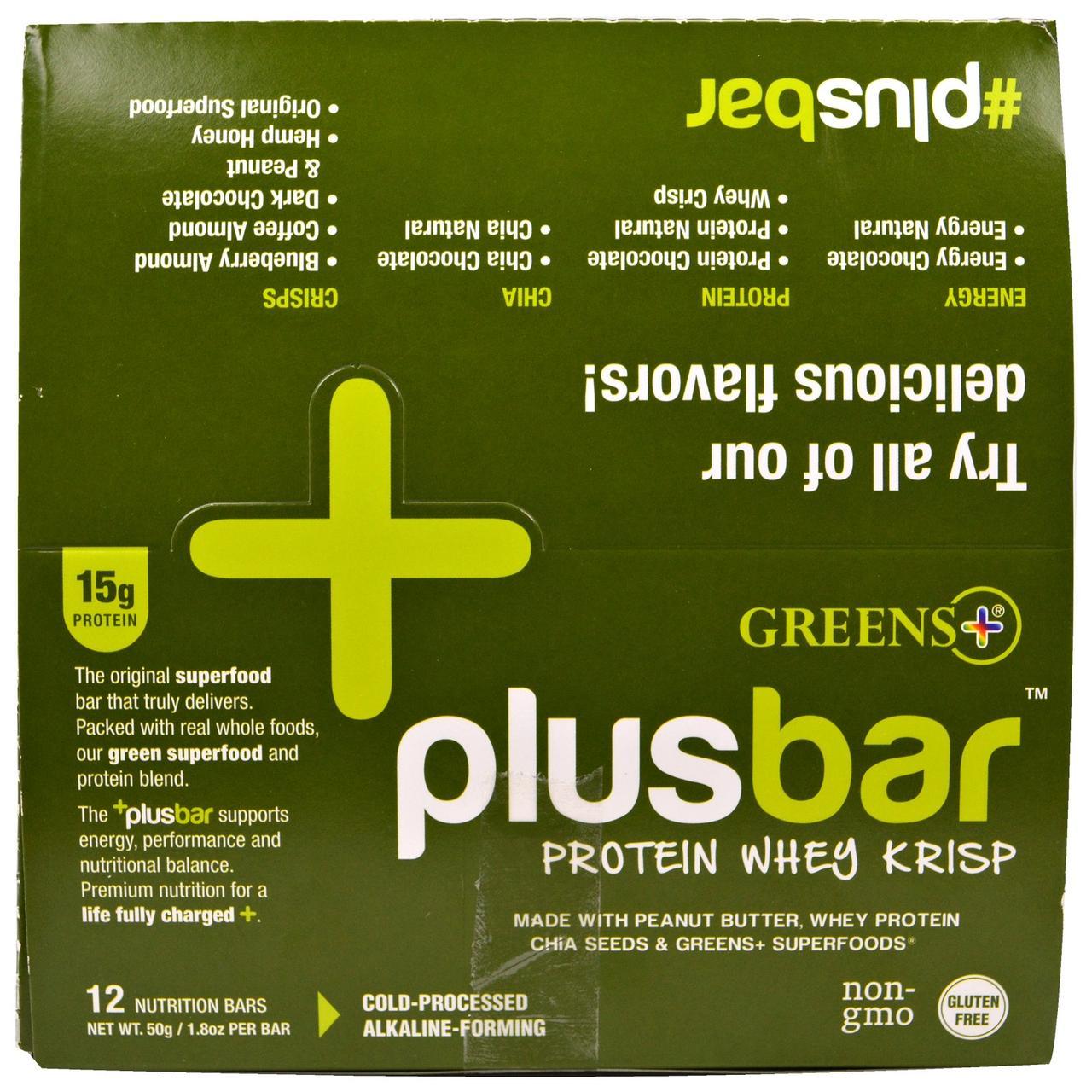 Greens Plus, Plusbar, хрустящий протеиновый батончик с молочной сывороткой, 12 батончиков, по 1,8 унции (50 г) каждый