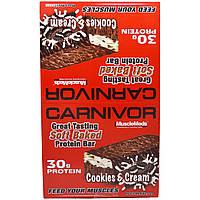MuscleMeds, Плотояд, белковые батончики из мягкого печенья со вкусом молочного коктейля с шоколадным печеньем, 12 белковых батончиков по 3,2 унции (91