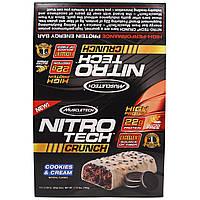 Muscletech, Нитротех, хрустящие батончики со вкусом молочного коктейля с шоколадным печеньем, 12 батончиков по 2,29 унций (65 г)