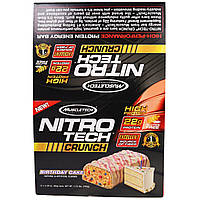 Muscletech, Нитротех, хрустящие батончики со вкусом торта ко дню рождения, 12 батончиков по 2,29 унций (65 г)