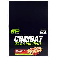 Muscle Pharm, Combat Crunch, Малина и белый шоколад, 12 батончиков, 2,22 унции (63 г) каждый
