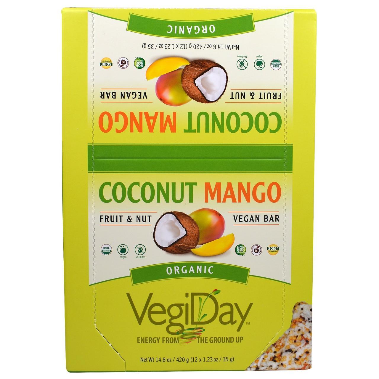 Natural Factors, ОвощеДень, органические веганские батончики со вкусом кокоса и манго, 12 батончиков по 1,23 унции (35 г)