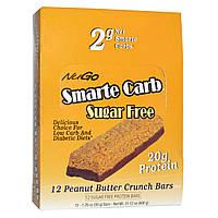 NuGo Nutrition, Smarte Carb, Хрустящие батончики с арахисовым маслом, без сахара, 12 батончиков, 1.76 унций (50 г) каждый