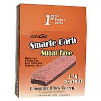 NuGo Nutrition, Smarte Carb,Шоколад с черешней без сахара, 12 батончиков, 1.76 унций (50 г) каждый