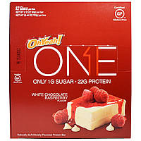 Oh Yeah!, One, с белым шоколадом и малиной, 12 батончиков по 2.12 унции (60 г)