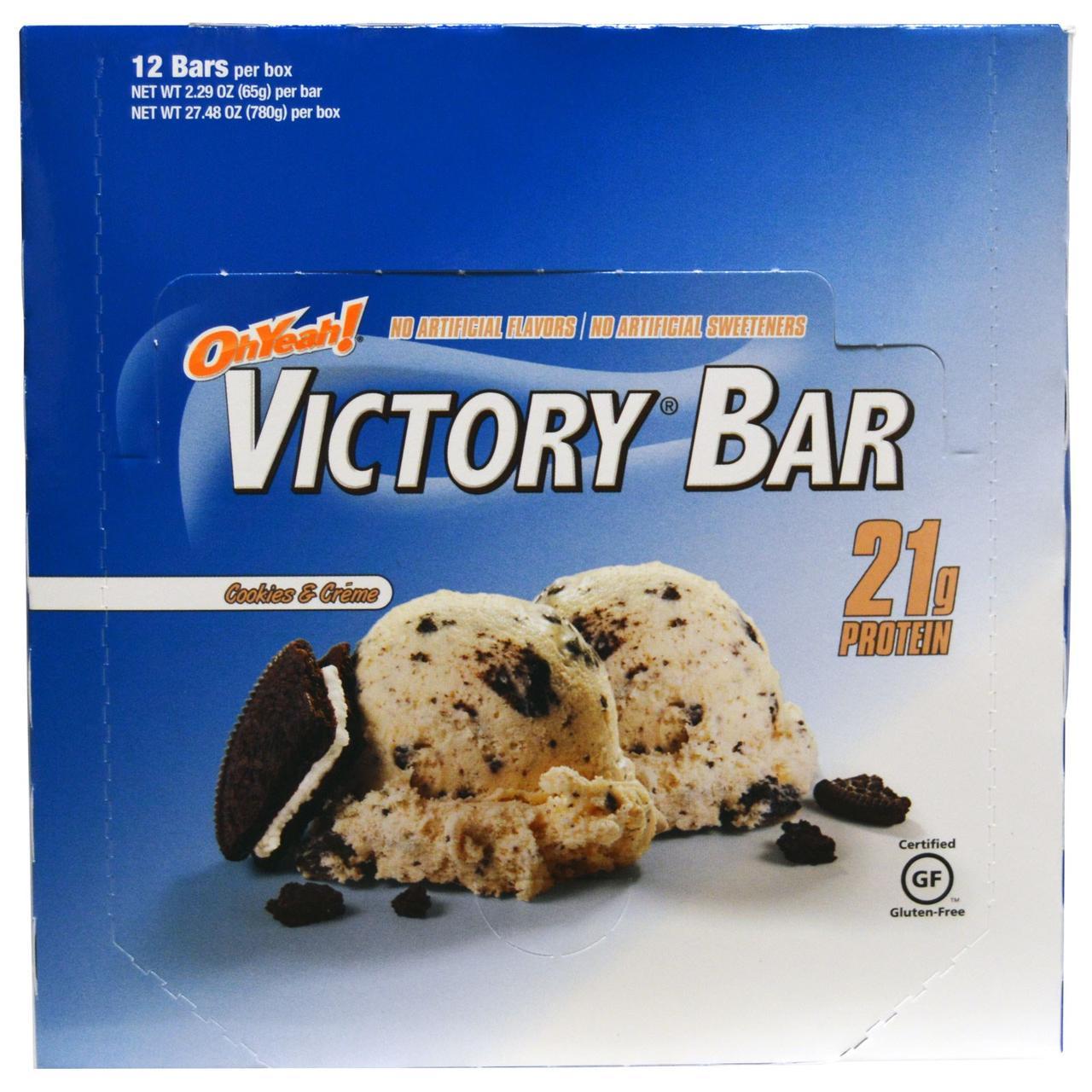 Oh Yeah!, Батончик Виктори Печенье & сливки, 12 батончиков, 2,29 унции (65 г)
