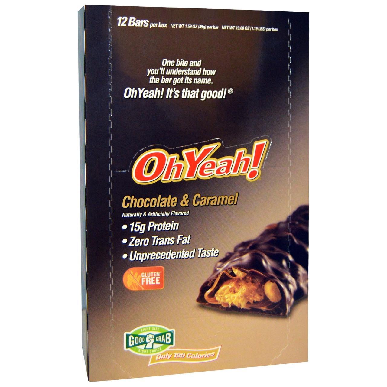 Oh Yeah!, Протеиновые батончики, Шоколад & карамель, 12 батончиков, 1,59 унции (45 г)
