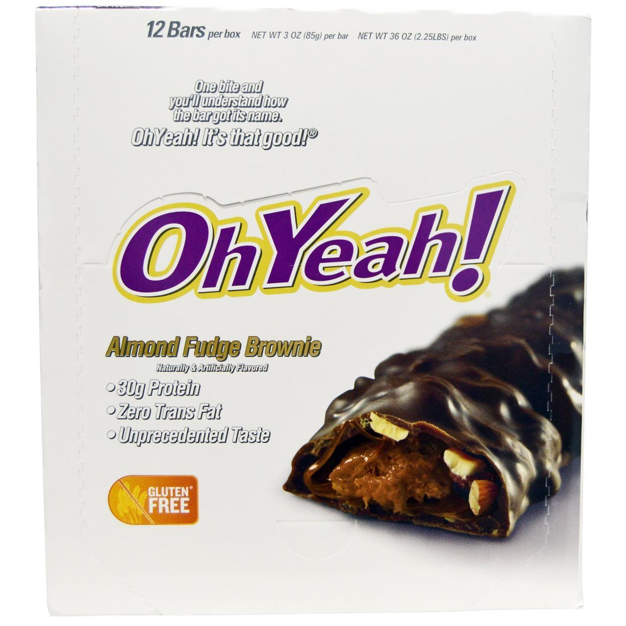 Oh Yeah!, Миндальные шоколадные батончикики Фадж, 12 батончиков - по 3 унции (85 г) каждый