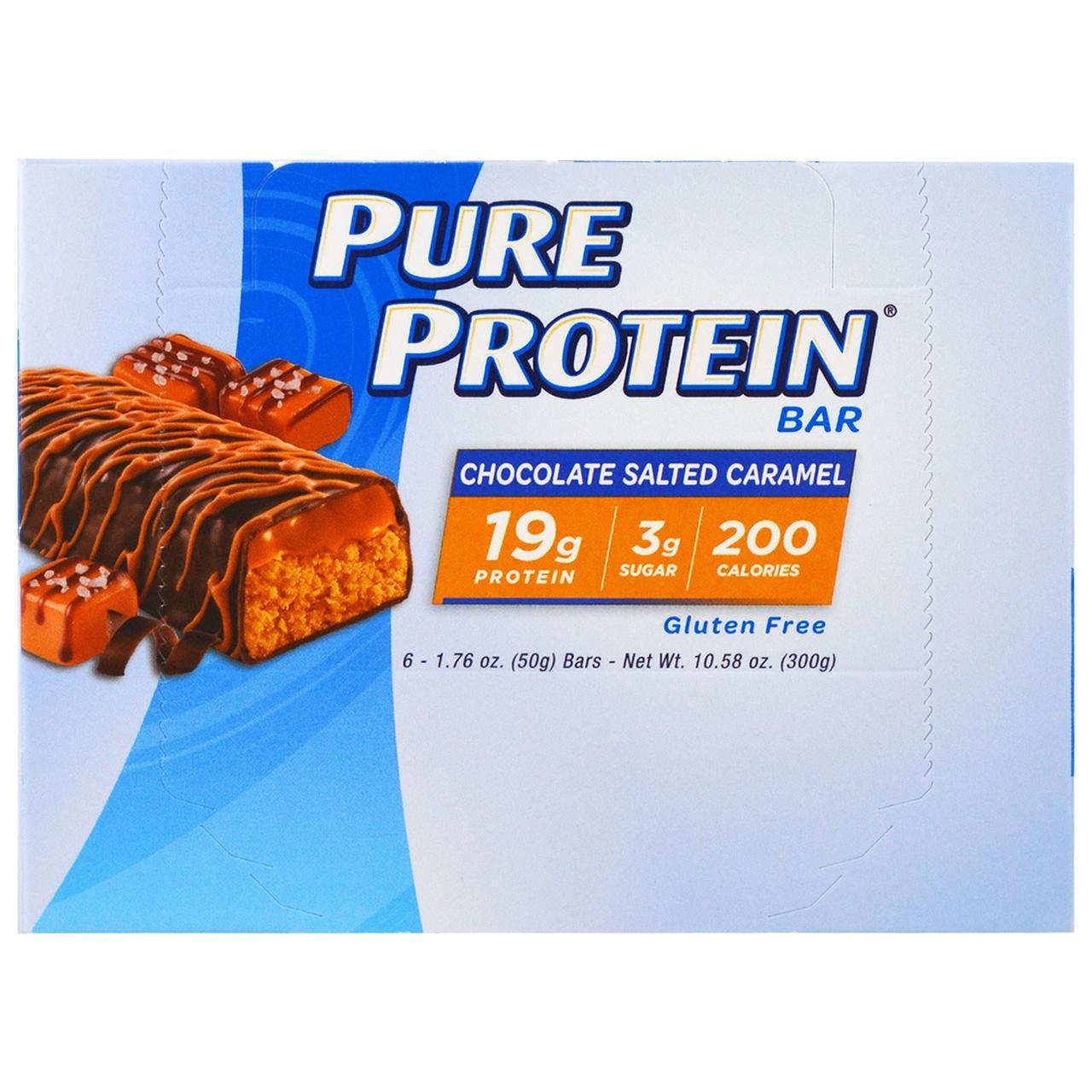 Pure Protein, Шоколадный батончик с карамелью и солью, 6 батончиков, каждый по 1.76 унц. (50 г.)