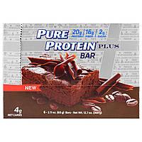 Pure Protein, Plus Bar, брауни мокка, 6 батончиков, 2.11 унц. (60 г.)