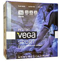 Vega, Спортивный белковый батончик со вкусом шоколада и кокоса, 12 батончиков по 2,14 унций (60 г)