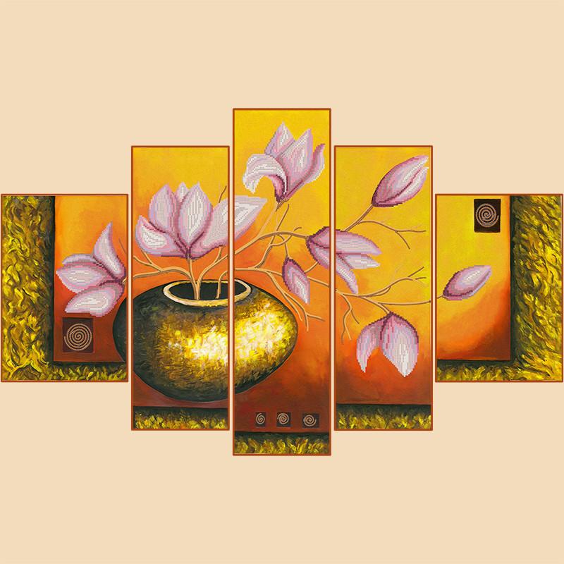 Схема для вышиви бисером Лепестки магнолий, полиптих из 5 частей