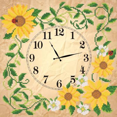 Схема для вышиви бисером Часы. Солнечные цветы