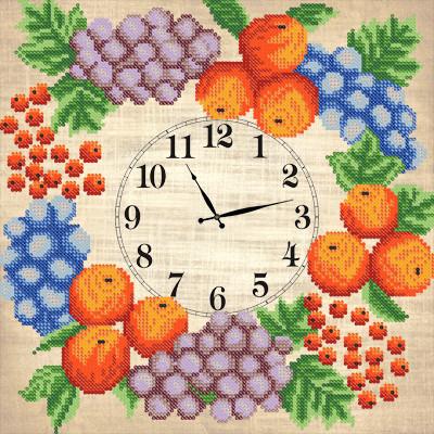 Схема для вышиви бисером Часы. Фруктовый веночек