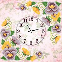 Схема для вышиви бисером Часы. Анютины глазки