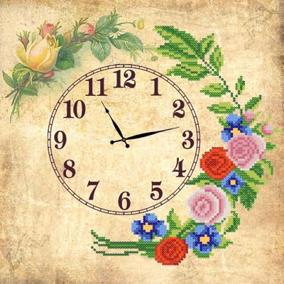 Схема для вышиви бисером Часы. Старинные розы